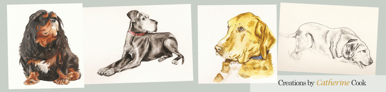 dog paintings and sketches