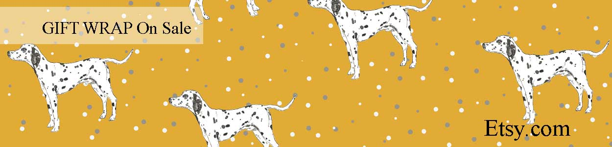 Sidney Dalmatian spotty gift wrap by Catherine Cook